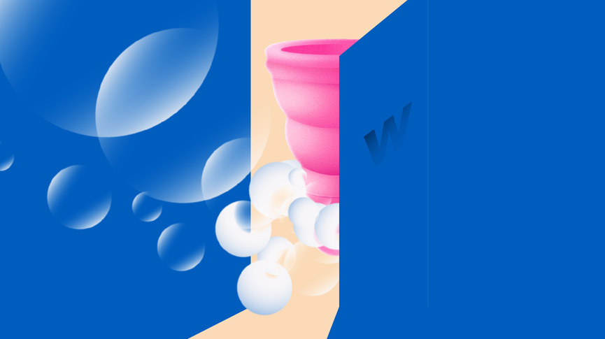 Public bathroom and menstrual cup