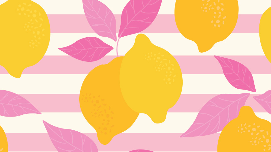 Lemons with pink leaves