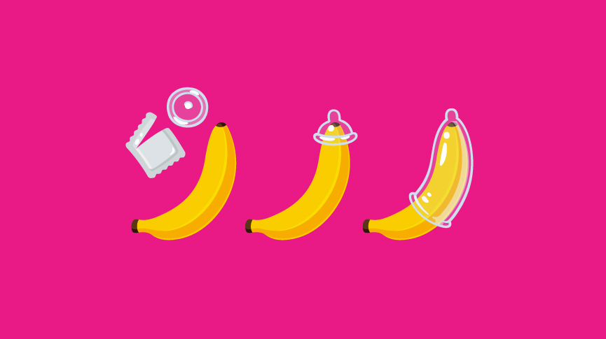 Banana with condoms